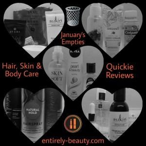 Hair Care, Skin Care, Body Care, Hand Care And Oral Health Products that I used up in January.