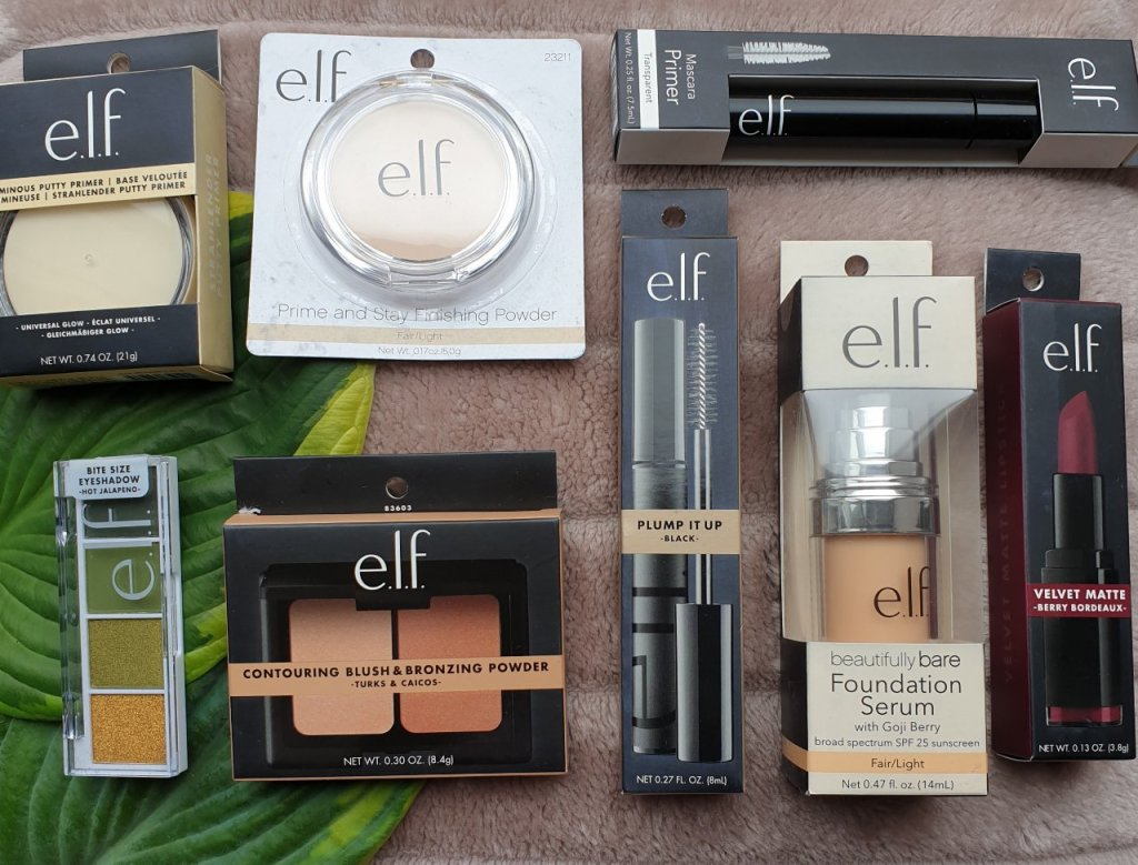 A bunch of great buys from E.L.F cosmetics that came with two free gifts.