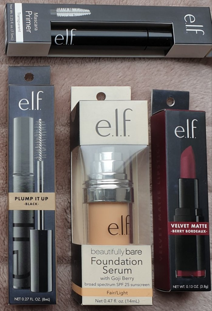 The e.l.f Mascara, mascara primer, foundation serum and my FREE lipstick.